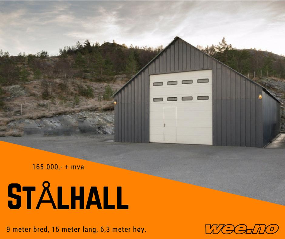 Ungdommelig Ny Stålhall 9 m bred, 15 m lang, 6,3 m høy - Isolert foldeport UF-48